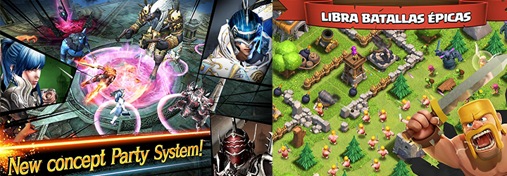 Screenshot examples from Clash of Clans and Iron Knights