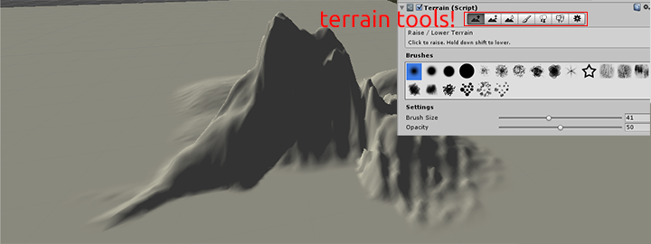 Create some awesome mountains using the first three terrain tools